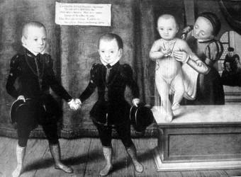 Die drei Söhne Herzog Friedrich II., des Mittleren, von Sachsen Links Friedrich Heinrich im Alter von 4-5 Jahren, der den in der Mitte stehenden Johann Casimir (3-4 Jahre) an der Hand hält.