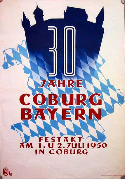 Plakat zum 30jährigen Anschluß an Bayern, 1950.