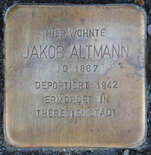 Stolperstein für Jakob Altmann, Kreuzwehrstraße 9