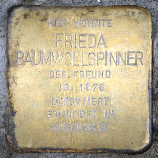 Stolperstein für Frieda Baumwollspinner, Judengasse 8