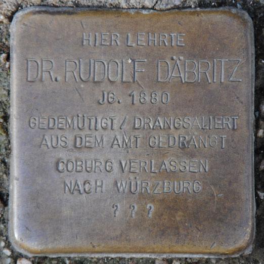 Stolperstein für Dr. Rudolf Däbritz, Gymnasiumsgasse 2