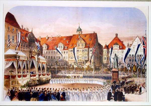 Einweihung des Prinz-Albert-Denkmals auf dem Marktplatz in Beisein von Queen Victoria