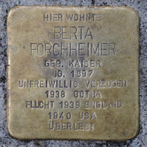 Stolperstein für Berta Forchheimer, Bahnhofstraße 28