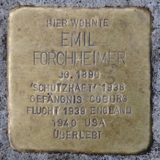 Stolperstein für Emil Forchheimer, Bahnhofstraße 28