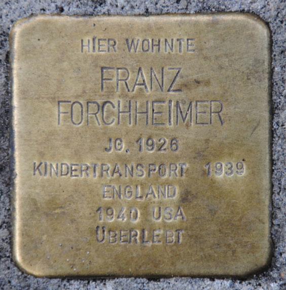 Stolperstein für Franz Forchheimer, Bahnhofstraße 30