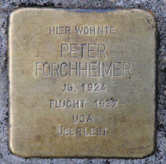 Stolperstein für Peter Forchheimer, Bahnhofstraße 28