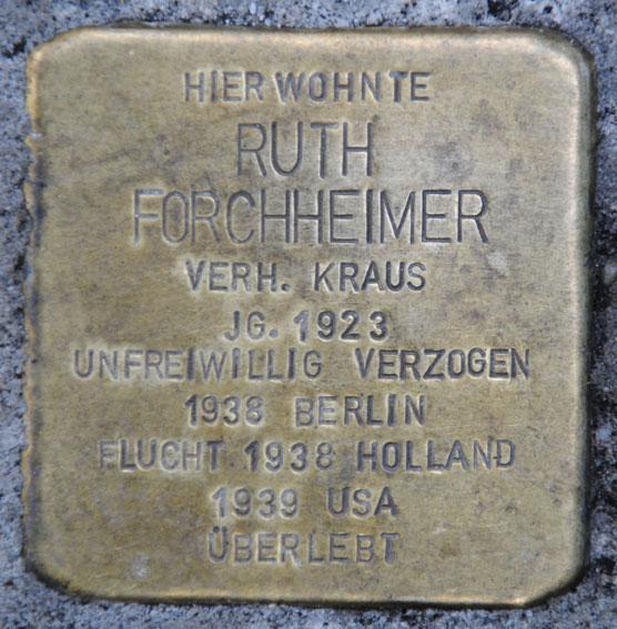 Stolperstein für Ruth Kraus, Bahnhofstraße 28