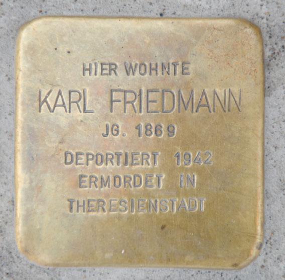 Stolperstein für Karl Friedmann, Rosenauer Straße 7