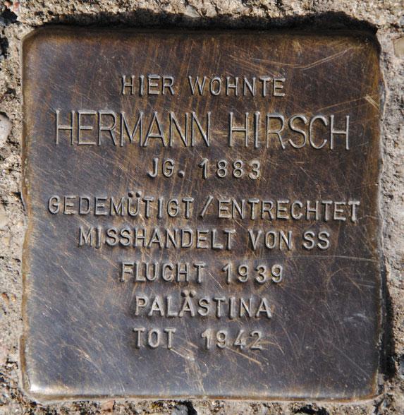 Berta und Hermann Hirsch, geb. 1891 + 1883 / Hohe Straße 30