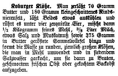 Koburger Klöße nach einem Rezept aus dem Jahr 1890