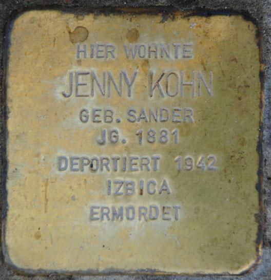 Stolperstein für Jenny und Max Kohn, Sally-Ehrlich-Straße 1