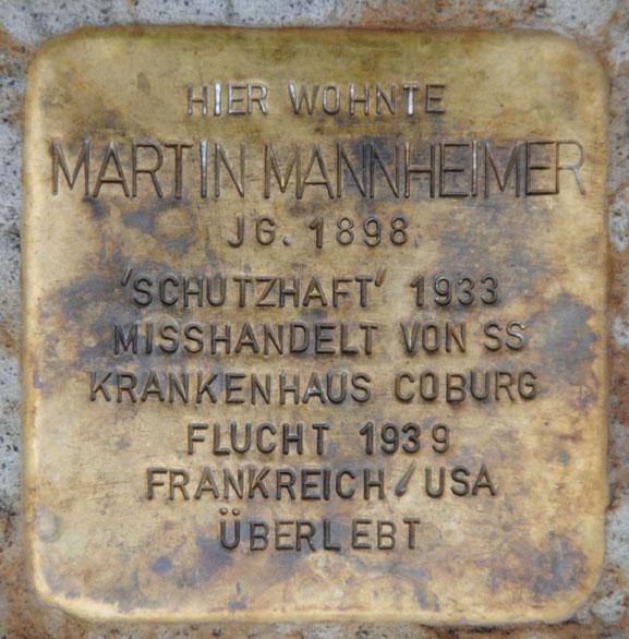 Stolperstein für Martin Mannheimer, Heiligkreuzstraße 22