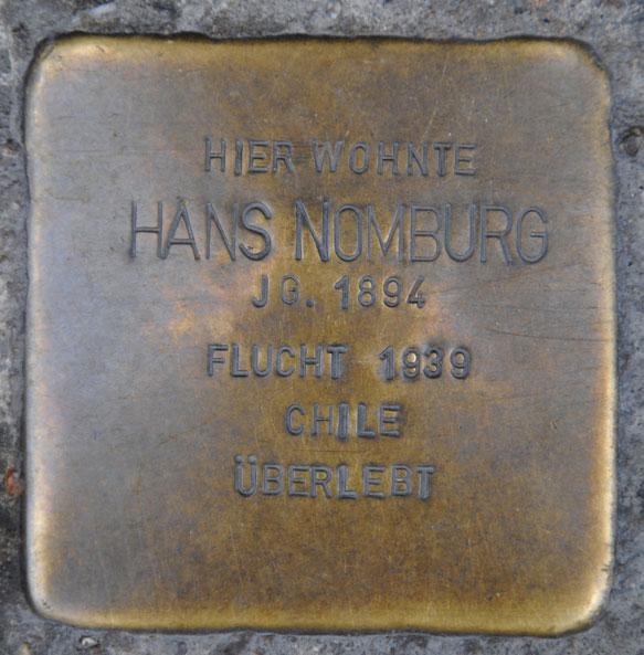 Stolperstein für Georg, Charlotte, Hans u. Susi Nomburg, Steinweg 17