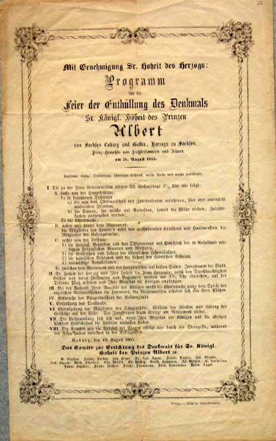 Original-Programm zur Einweihung des Prinz-Albert-Denkmals.