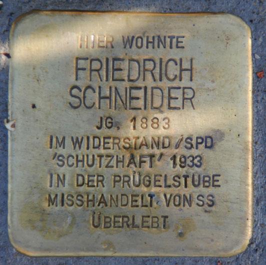 Stolperstein für Friedrich Schneider, Baumschulenweg 9