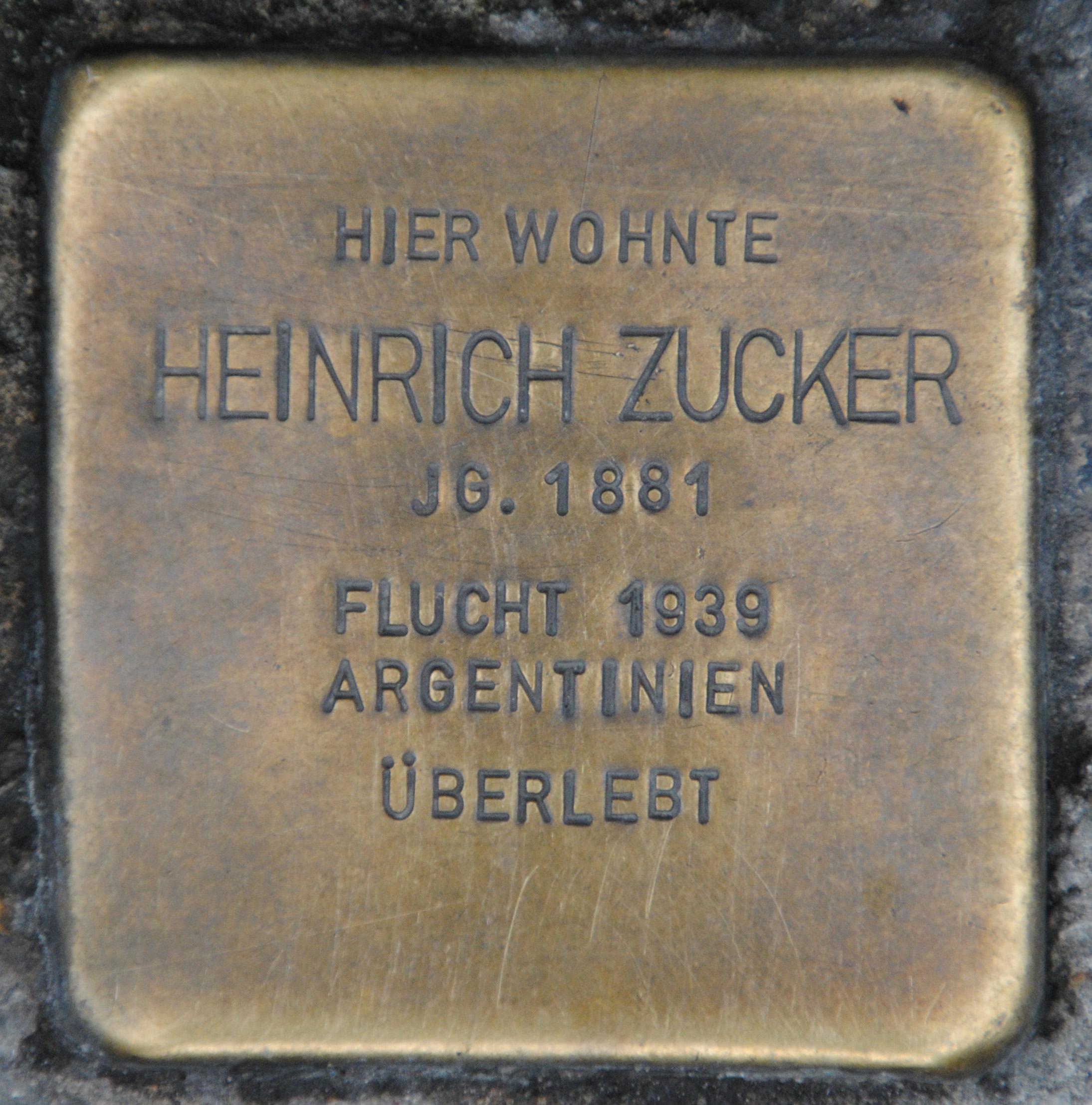 Stolperstein für Heinrich Zucker, Steinweg 19