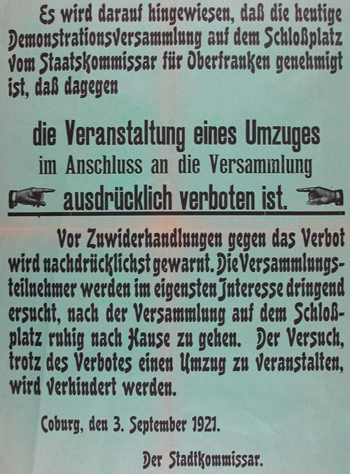 """3. September 1921: Der """"Coburger Blutsonnabend"""""""