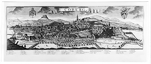 Ansicht von Stadt und Veste Coburg, im Vordergrund die Itz mit ihren Uferwiesen