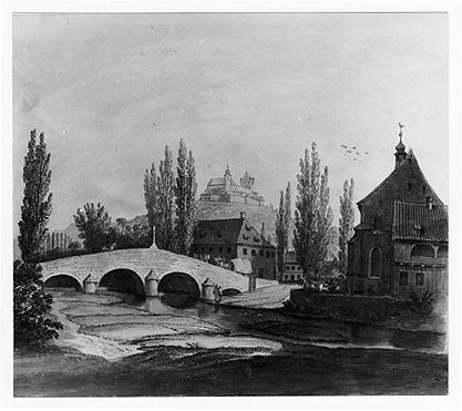 Blick vom Westufer der Itz auf die alte Brücke und die Heilig-Kreuz-Kirche 2