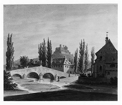 Blick vom Westufer der Itz auf die alte Brücke und die Heilig-Kreuz-Kirche 1