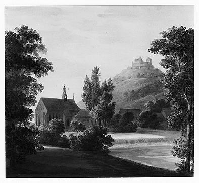 Blick vom Westufer der Itz auf die Heilig-Kreuz-Kirche und die im Hintergrund liegende Veste