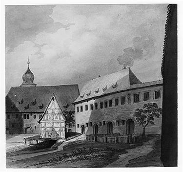 Westhof der Veste mit Bilck auf das ehemalige Schaf- oder Kornhaus