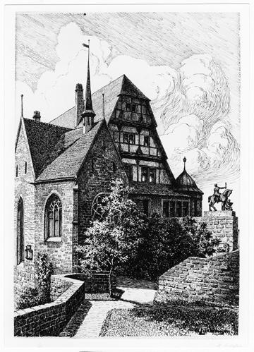 Blick auf den Fürstenbau und der Lutherkapelle von Osten