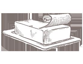 Zeichnung einer Butterdose