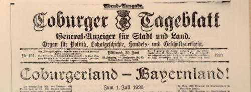Zeitungsausschnitt vom Coburger Tageblatt