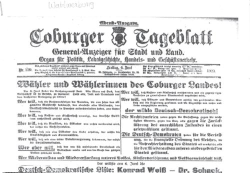 Zeitungsseite Coburger Tageblatt