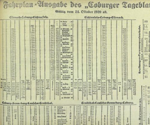 Winterfahrplan von 1920/21