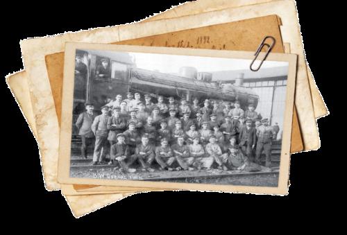 Foto des Werkstattpersonal des Bahnbetriebswerkes Coburg am 9. November 1920