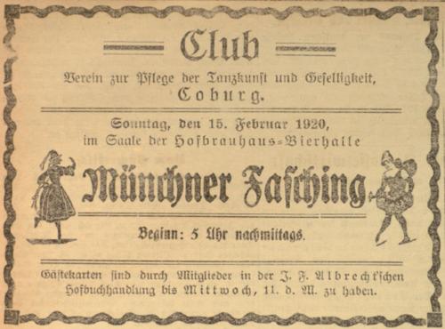 Zeitungsanzeige zum Münchner Fasching