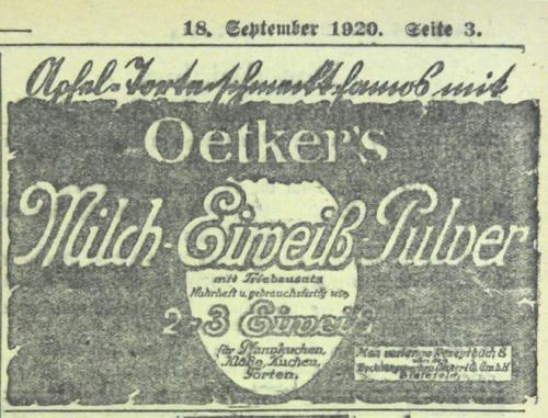 Rezept von Dr. Oetker in der Tagespresse