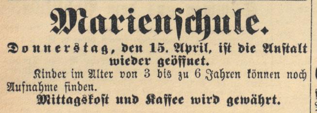 Zeitungsartikel zu den Öffnungszeiten der Marienschule