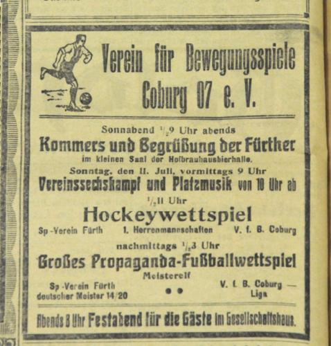 Spielankündigung des VfB Coburg