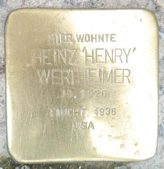 """Stolperstein für  Heinz """"Henry"""" Wertheimer, Steinweg 53"""